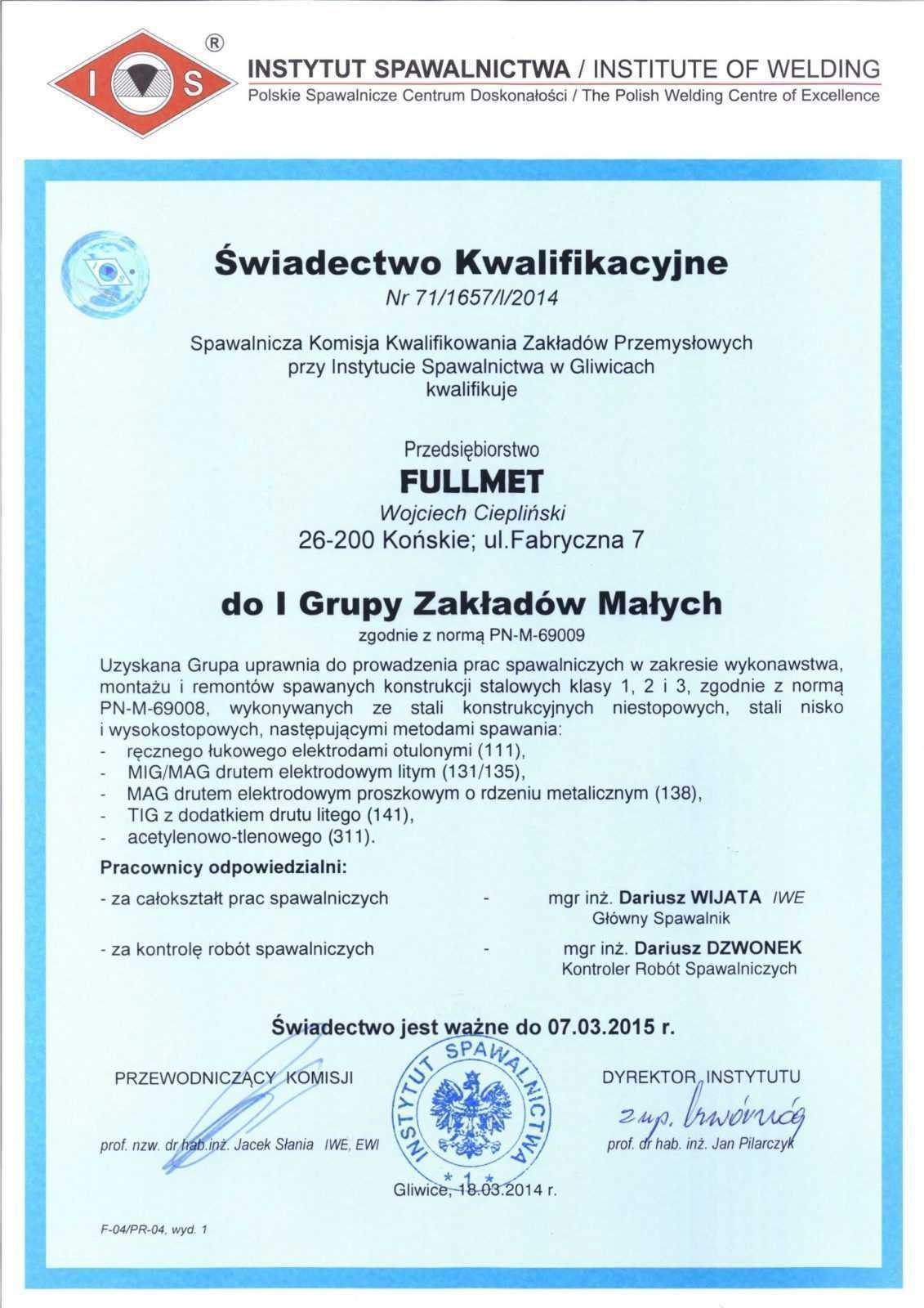 Qualification certificate of the Welding Institute PL