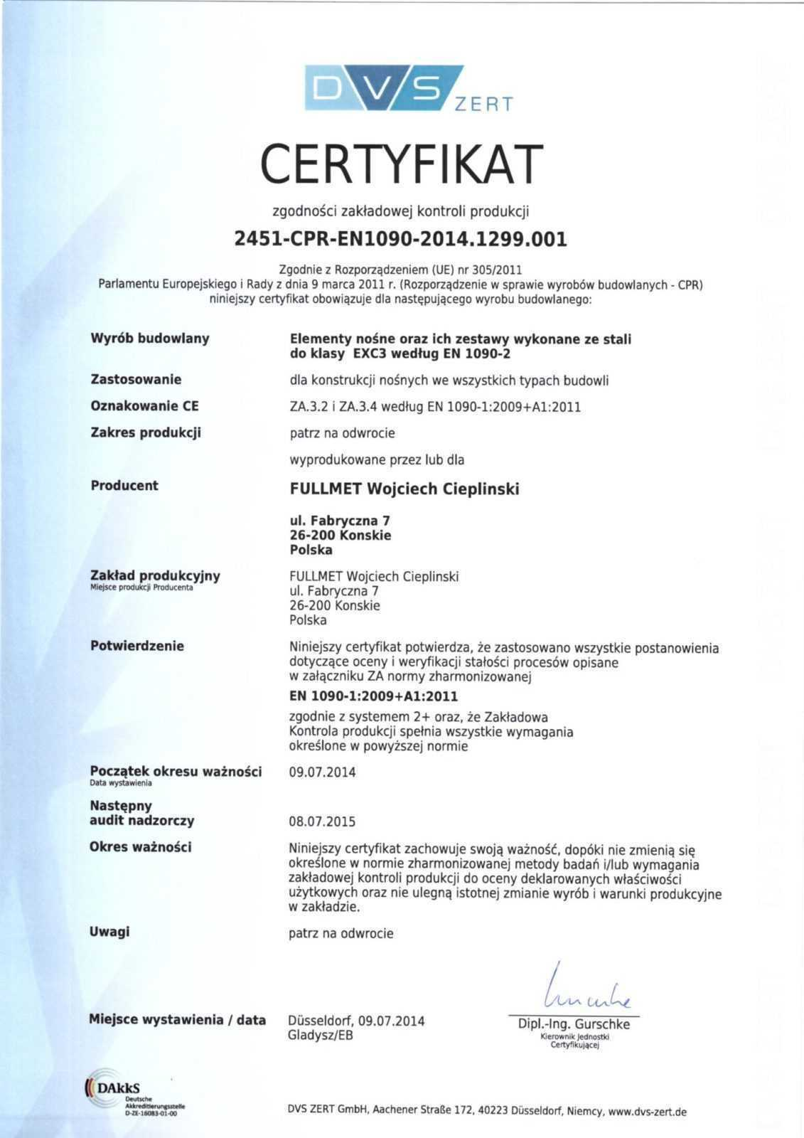 Certificate of The Company Production Control of the Front of PL